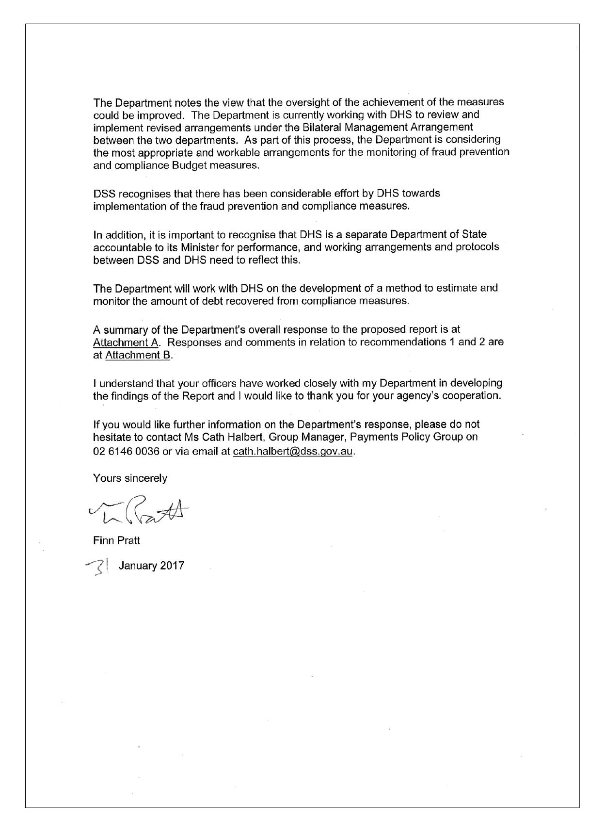 Department of Social Services response letter page 2