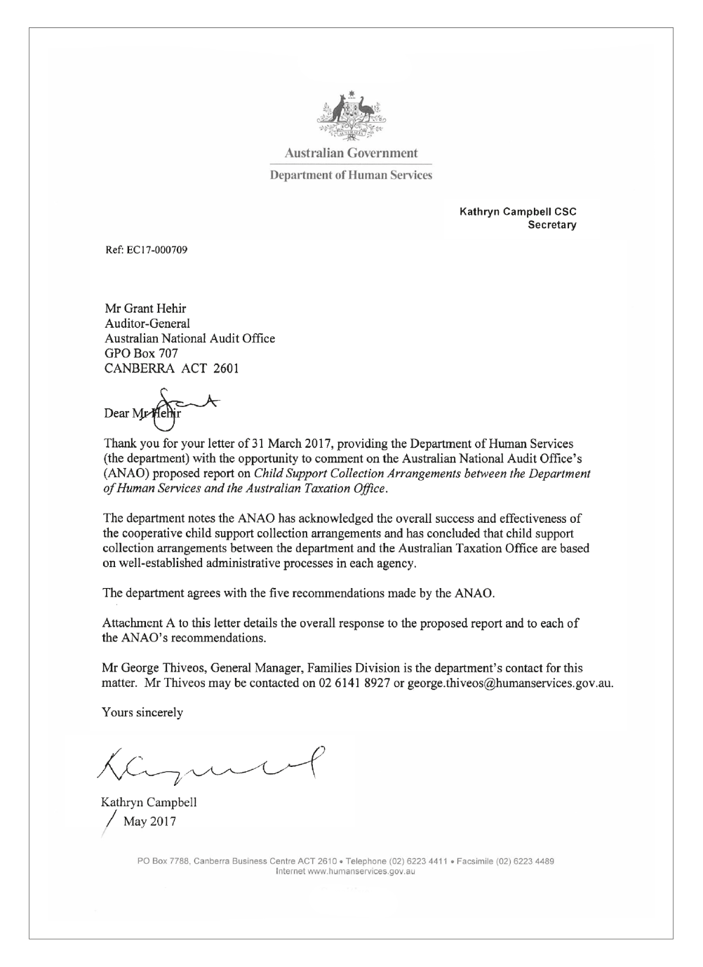 Human Services response letter