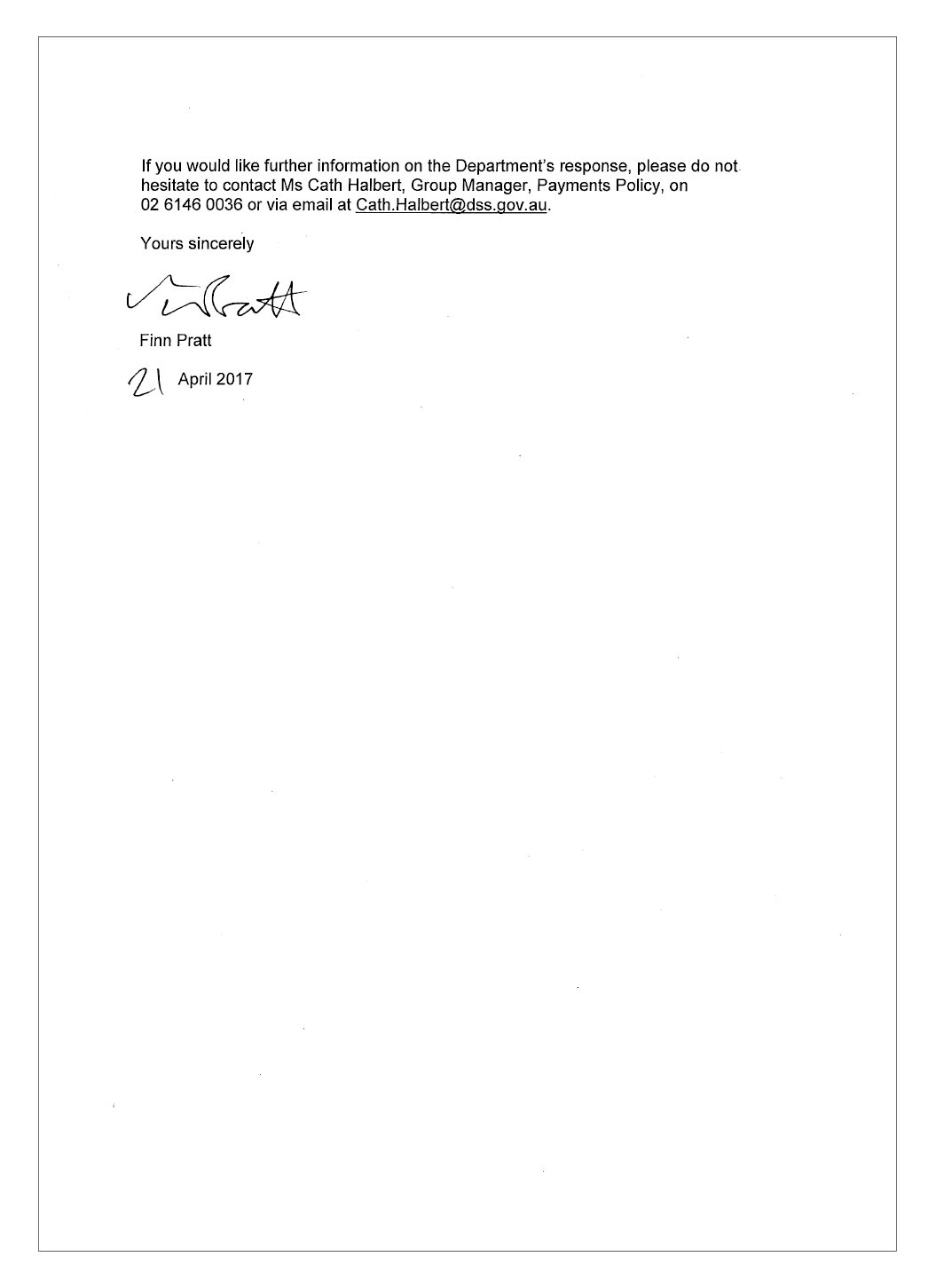 DSS response letter page 2