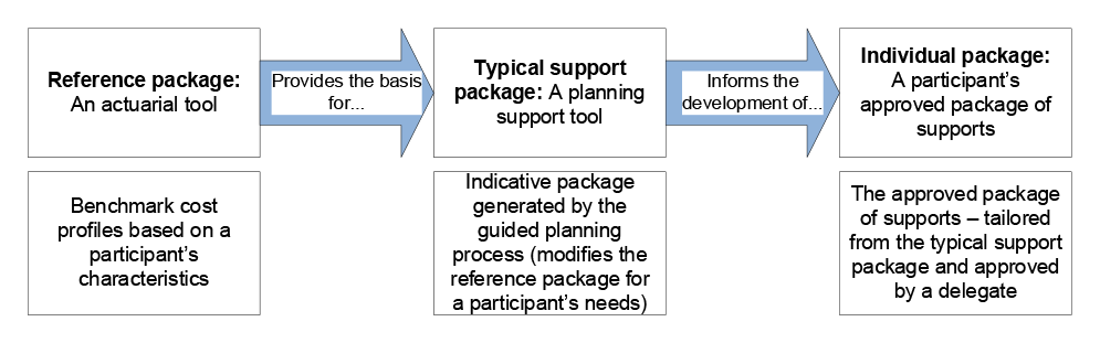 A diagram that explains how typical support packages are used in participant planning. The diagram shows that the reference package provides the basis for the typical support package, which is an indicative support package generated by the guided planning